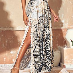 Tribal Print Fringe Trim Split Thigh Paperbag Skirt | SHEIN