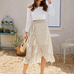 Ruffle Trim Wrap Belted Floral Print Skirt | SHEIN