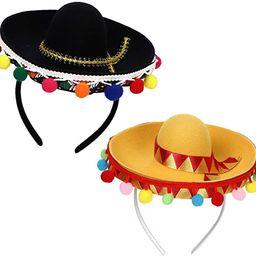 Fuyage Cinco De Mayo Sombrero Headband, Fiesta Sombrero Party Hats with Ball Fringe Decoration, C...   Amazon (US)