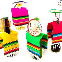 Set of 6 Serapes for Bottles and Mini Fiesta Hats for Bottles - 4 Inches by 11 Inches Poncho Cove...   Amazon (US)