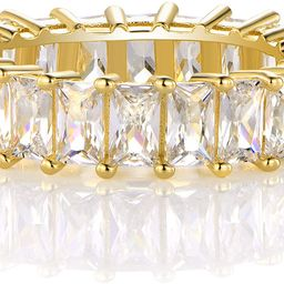 XBRN 14K Gold Plated Ring Cubic Zirconia Emerald Cut Eternity Ring Band for Women Men | Amazon (US)