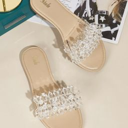 Crystal Decor Slide Sandals | SHEIN