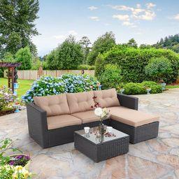 MF Studio 3 Piece Outdoor Sectional Rattan Sofa - Wicker Patio Furniture Set (Beige) | Walmart (US)