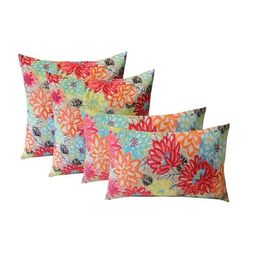 """RSH Décor Indoor Outdoor Set of 4 Square Throw Pillows Weather Resistant 17"""" x 17"""" and 20"""" x 12""""... 