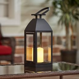 Better Homes and Gardens Battery Powered Outdoor Black Metal and Glass LED Lantern | Walmart (US)