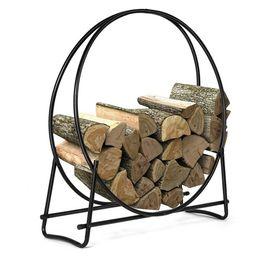 Costway 40-Inch Tubular Steel Log Hoop Firewood Storage Rack Holder Round Display | Walmart (US)