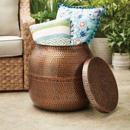 """Better Homes & Gardens 19"""" Antique Copper Finish Outdoor Side Table 