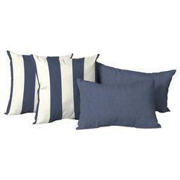 Mainstays 4-Piece Outdoor Pillow Set, 20 in., Navy and Cabana Stripe | Walmart (US)