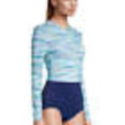 Women's Chlorine Resistant Zip Front Long Sleeve Tugless Sporty One Piece Swimsuit | Lands' End (US)