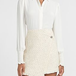 High Waisted Wrap Front Tweed Mini Skirt | Express