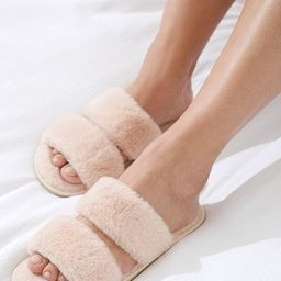 Double Strap Plush Slide Slippers | Soma Intimates