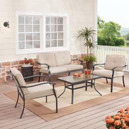 Mainstays Belden Park 4-Piece Outdoor Patio Conversation Set, Beige | Walmart (US)
