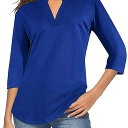 CEASIKERY Women's 3/4 Sleeve V Neck Tops Casual Tunic Blouse Loose Shirt   Amazon (US)