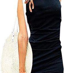 Womens Bodycon Dress Casual Tshirt Dresses Ruched Dress Mini Short Irregular Hem   Amazon (US)
