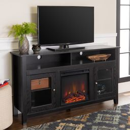"""Woven Paths Highboy Glass Door Fireplace TV Stand for TVs up to 65"""", Black   Walmart (US)"""