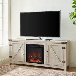 Woven Paths Modern Farmhouse 2 Door Electric Fireplace TV Stand, Stone Grey | Walmart (US)