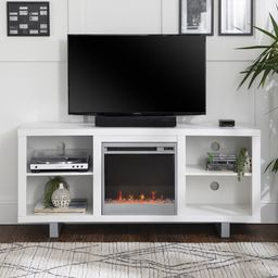 """Manor Park Modern Fireplace TV Stand for TVs up to 64"""", White   Walmart (US)"""