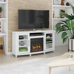 """Rossville TV Stand for TVs up to 60"""" with Electric Fireplace, White   Overstock"""