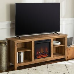 Porch & Den Roosevelt Barnwood 58-inch Fireplace TV Stand Console   Overstock