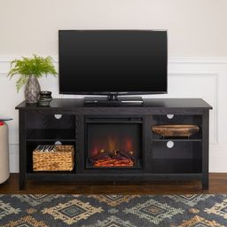 Porch & Den Roosevelt Black 58-inch Fireplace TV Stand Console   Overstock