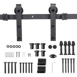 SmileMart Flat-tip Design Black Steel Single-door 6.6 ft Sliding Track Barn Door Hanging Hardware... | Walmart (US)