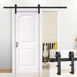 Antique Flat-tip Design Black Steel Single-door 8 Ft Sliding Track Barn Door Hanging Hardware Kit | Walmart (US)