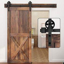 Amazon.com: WINSOON 5-16FT Single Wood Sliding Barn Door Hardware Basic Black Big Spoke Wheel Rol... | Amazon (US)