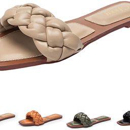 Women's Open Square Toe Sandals Flat Slipper Low Heel Slide Sandals Casual Shoes for Women | Amazon (US)