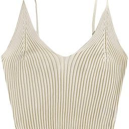 SweatyRocks Women's V Neck Crop Cami Top Ribbed Knit Spaghetti Strap Sleeveless Vest   Amazon (US)