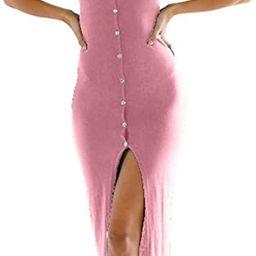 just quella Women's Summer Button Down Adjustable Spaghetti Straps Maxi Dress Sleeveless Bodyco...   Amazon (CA)
