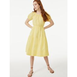 Free Assembly Women's Short Sleeve Peasant Midi Dress   Walmart (US)