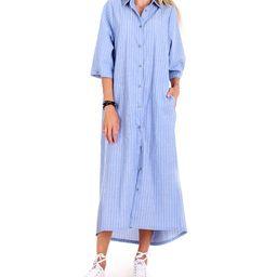 Andrea Crocetta Women's Casual Dresses Light - Blue Stripe Maxi Shirt Dress | Zulily