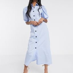 ASOS DESIGN puff sleeve button through poplin maxi shirt dress in blue | ASOS (Global)