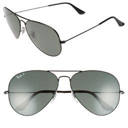 Ray-Ban Original 62mm Polarized Aviator Sunglasses - Black/ Polarized | Nordstrom