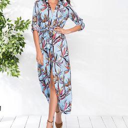 Milan Kiss Women's Maxi Dresses BLUE-FLORAL - Blue Floral Waist-Tie Shirt Dress | Zulily
