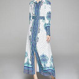Vicky and Lucas Women's Maxi Dresses Blue - Blue Scarf Print Maxi Shirt Dress | Zulily