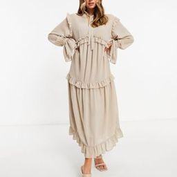 Pretty Lavish ruffle midaxi smock dress with ruffle detail in beige | ASOS (Global)