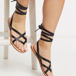 ASOS DESIGN Wide Fit Framed strappy leather sandal in black | ASOS (Global)