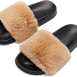 Spesoul Womens Furry Slippers Open Toe Indoor Outdoor House Casual Flat Slides Sandals | Amazon (US)
