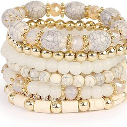 Multi Strand Bead Layering Statement Bracelets - Colorful Beaded Stretch Bangles, Heart/Leaf/Tass... | Amazon (US)