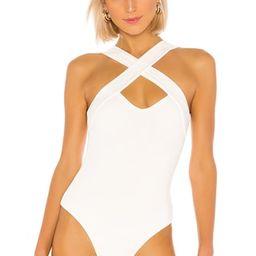 superdown Gene Cross Front Bodysuit in White from Revolve.com | Revolve Clothing (Global)