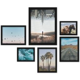 Americanflat City and Country Wanderlust Photography 6-Piece Black Framed Art Set by Luke Gram | The Home Depot