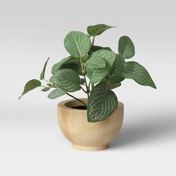 """8"""" x 8"""" Artificial Verigated Leaf House Plant in Pot - Threshold™   Target"""