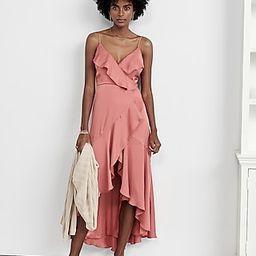 Satin Ruffle Wrap Midi Dress | Express
