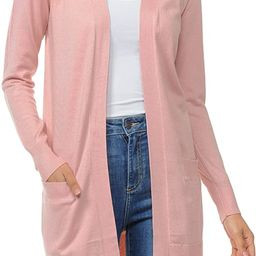 Womens Light Weight Open Front Long Cardigan with Pockets | Amazon (US)