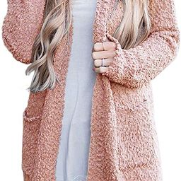 MEROKEETY Women's Long Sleeve Soft Chunky Knit Sweater Open Front Cardigan Outwear with Pockets | Amazon (US)