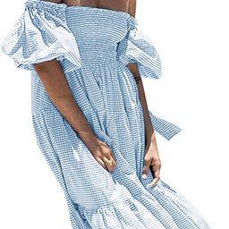 R.Vivimos Women's Summer Cotton Plaid Puff Sleeves Bow Casual Off-Shoulder Boho Midi Dress | Amazon (US)