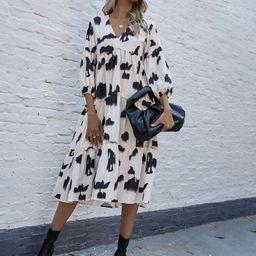 All Over Print V-neck Ruffle Hem Smock Dress | SHEIN