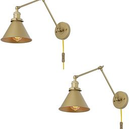 LNC Gold Wall Sconces, Swing Arm Wall Lamp Adjustable Plug-in or Hardwire Light Fixture, 2 Pack | Amazon (US)