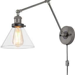 LNC Swing Arm Wall Sconce Lighting, Glass Lamp with Plug in Cord for Bedroom, Reading | Amazon (US)
